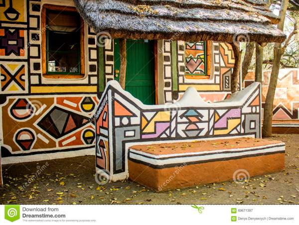 African Rondavel - House In Ethnic Tribal Painting Style