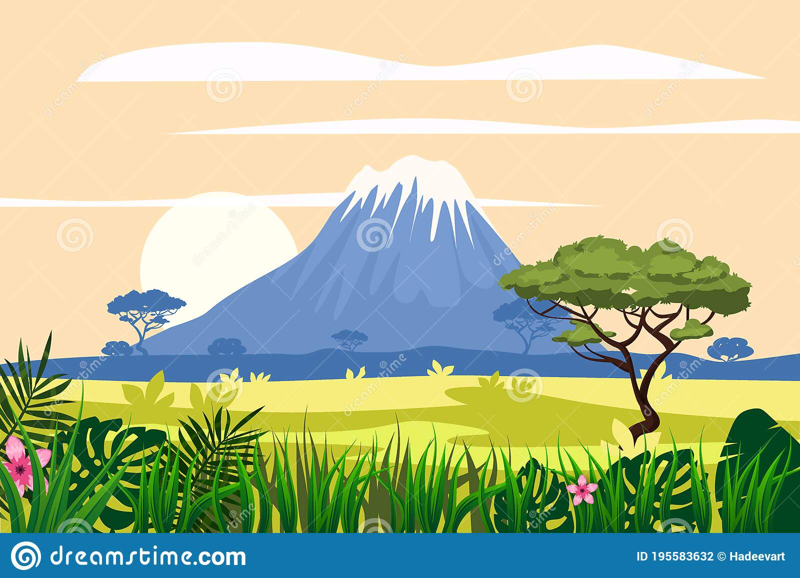 Protect your plants with onsite materials. African Savannah Landscape Mountains Rainforest Jungle Scenery Silhouette Bright Flora With Ferns And Flowers Vector Stock Vector Illustration Of Mist Cartoon 195583632