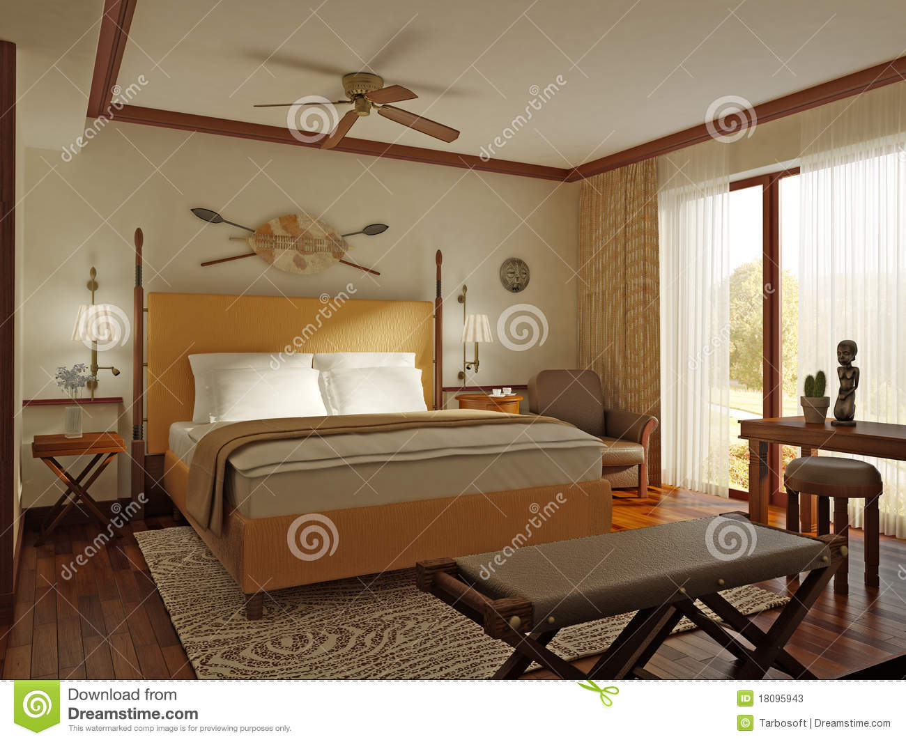 African style bedroom stock illustration Image of cactus