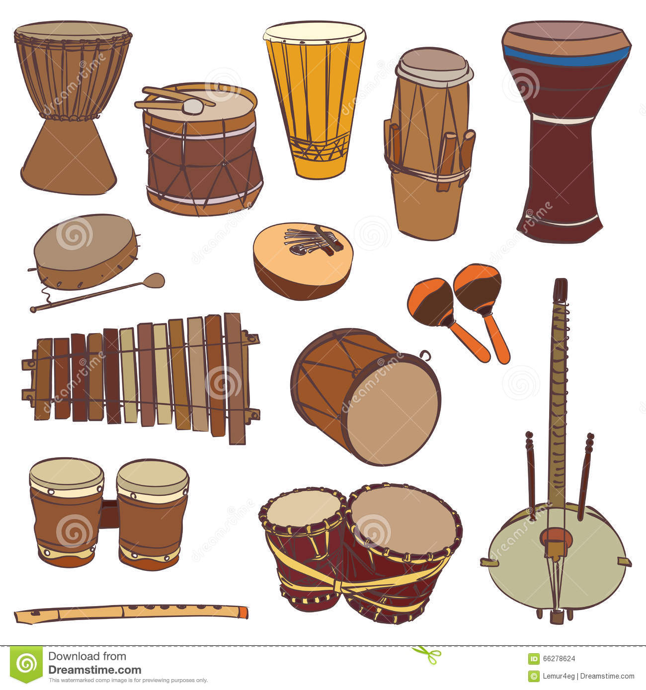 African Traditional Musical Instruments Stock Vector