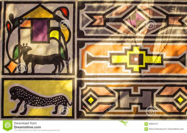 African Tribal Traditional House Ornament Pattern. Stock