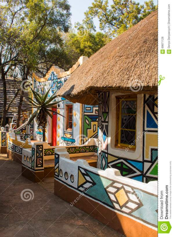 African Village. Traditional Ethnic Tribal Painting Style