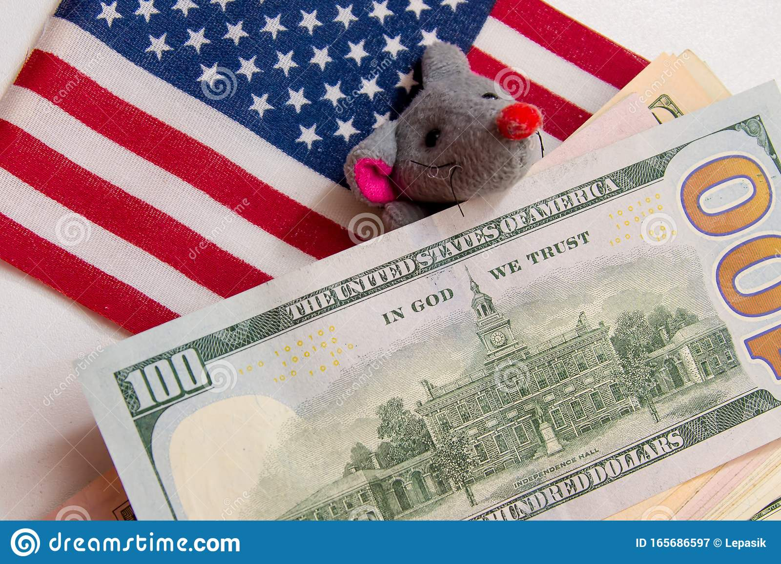 Against The Background Of The American Flag And Dollar