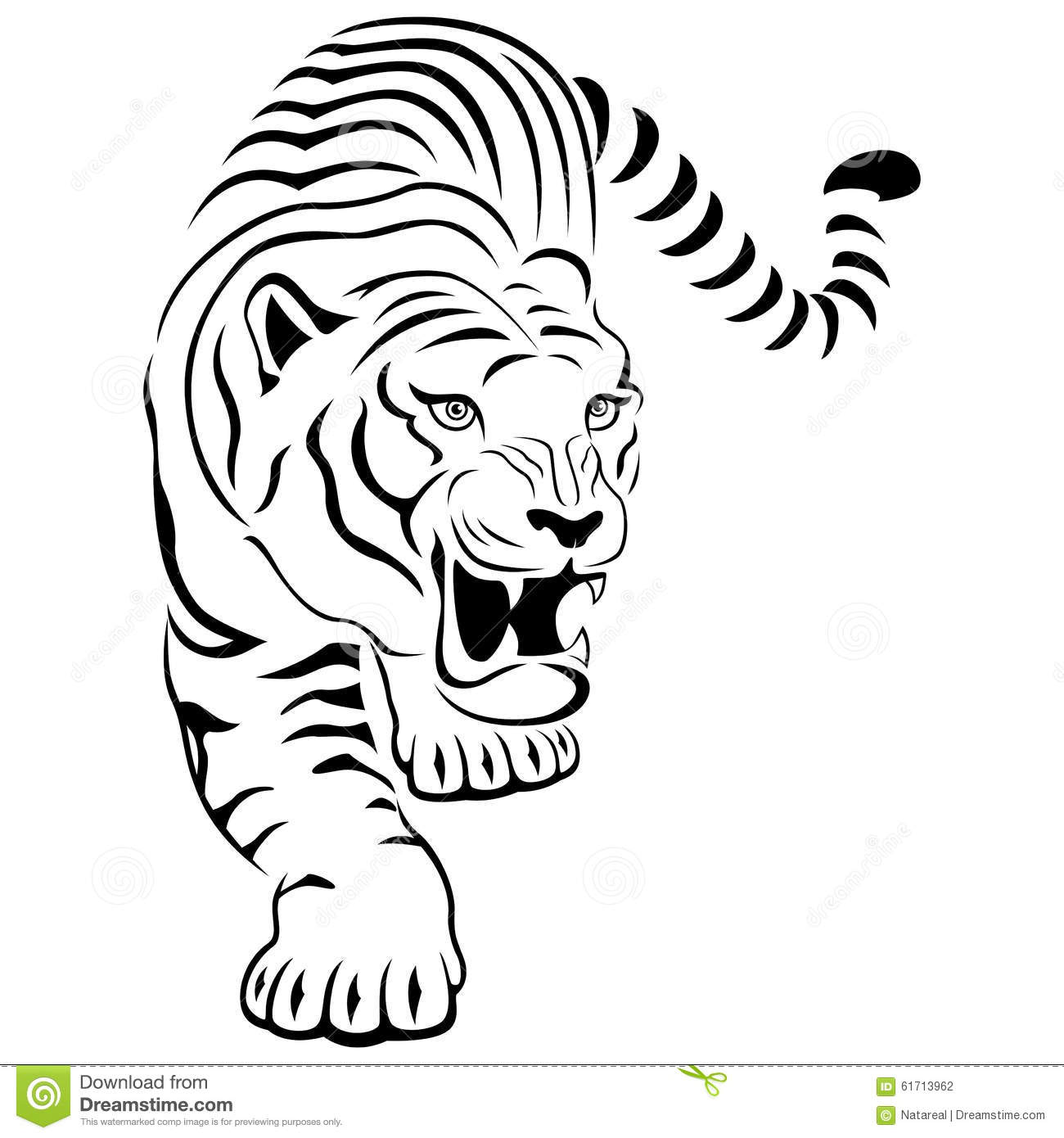 Aggressive Tiger On Hunting Stock Vector