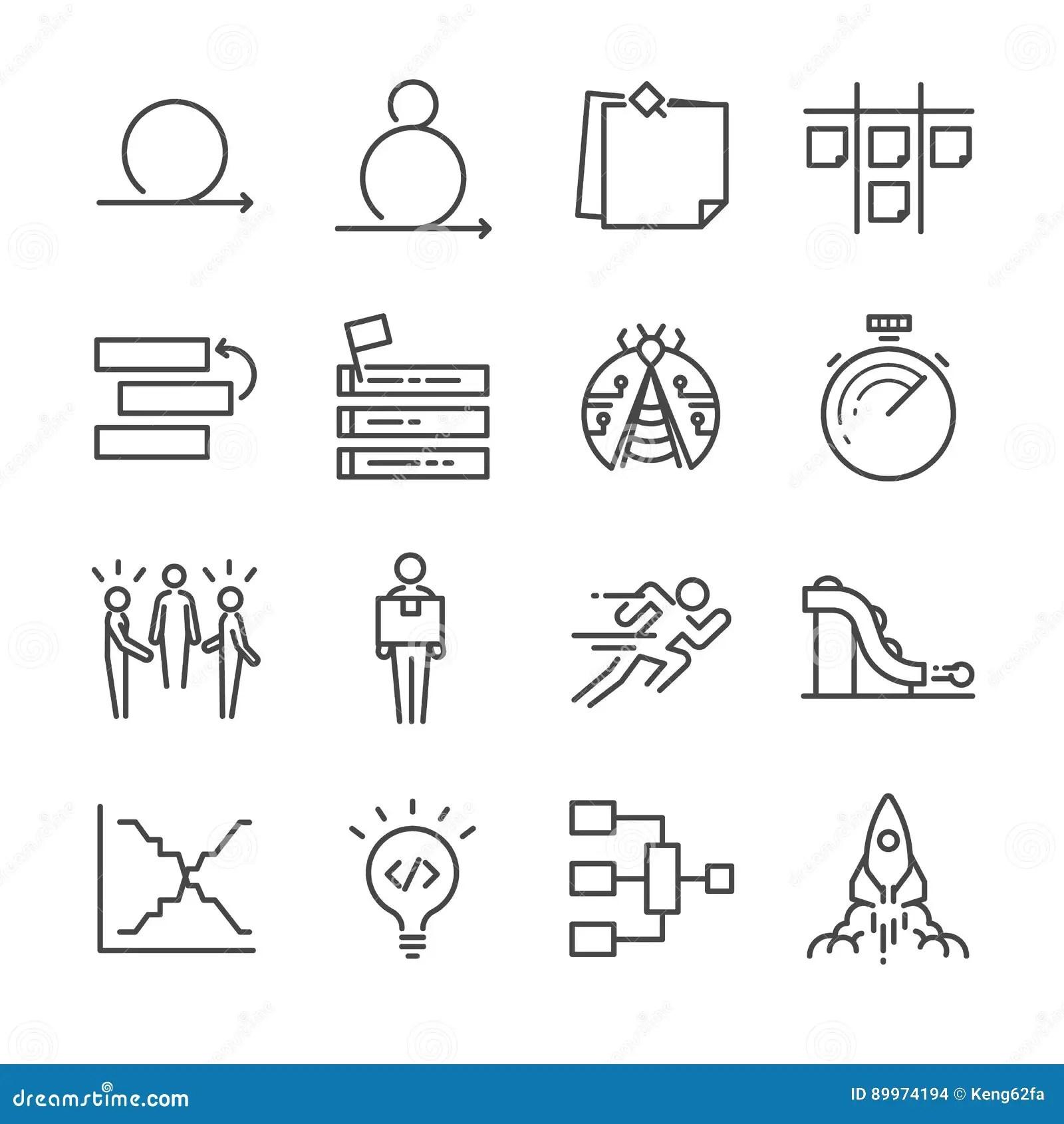 Scrum Development Methodology Icons Vector Illustration