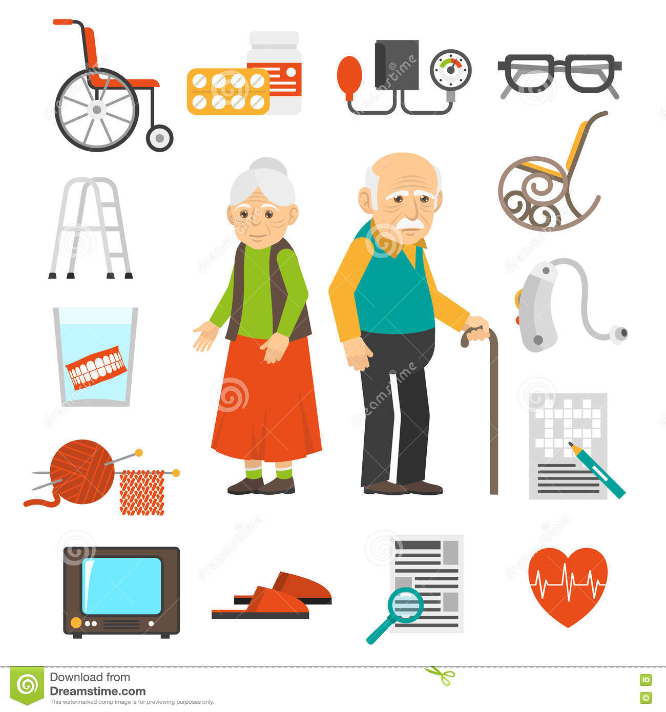 wheel chair prices table chairs 2 aging people accessories flat icons set stock vector - image: 71195945