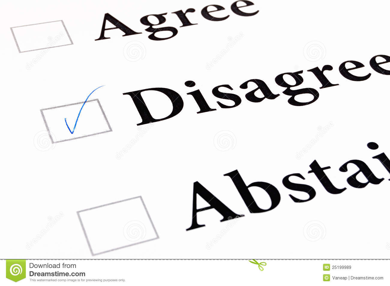 Agree Disagree Abstain Form Royalty Free Stock Images