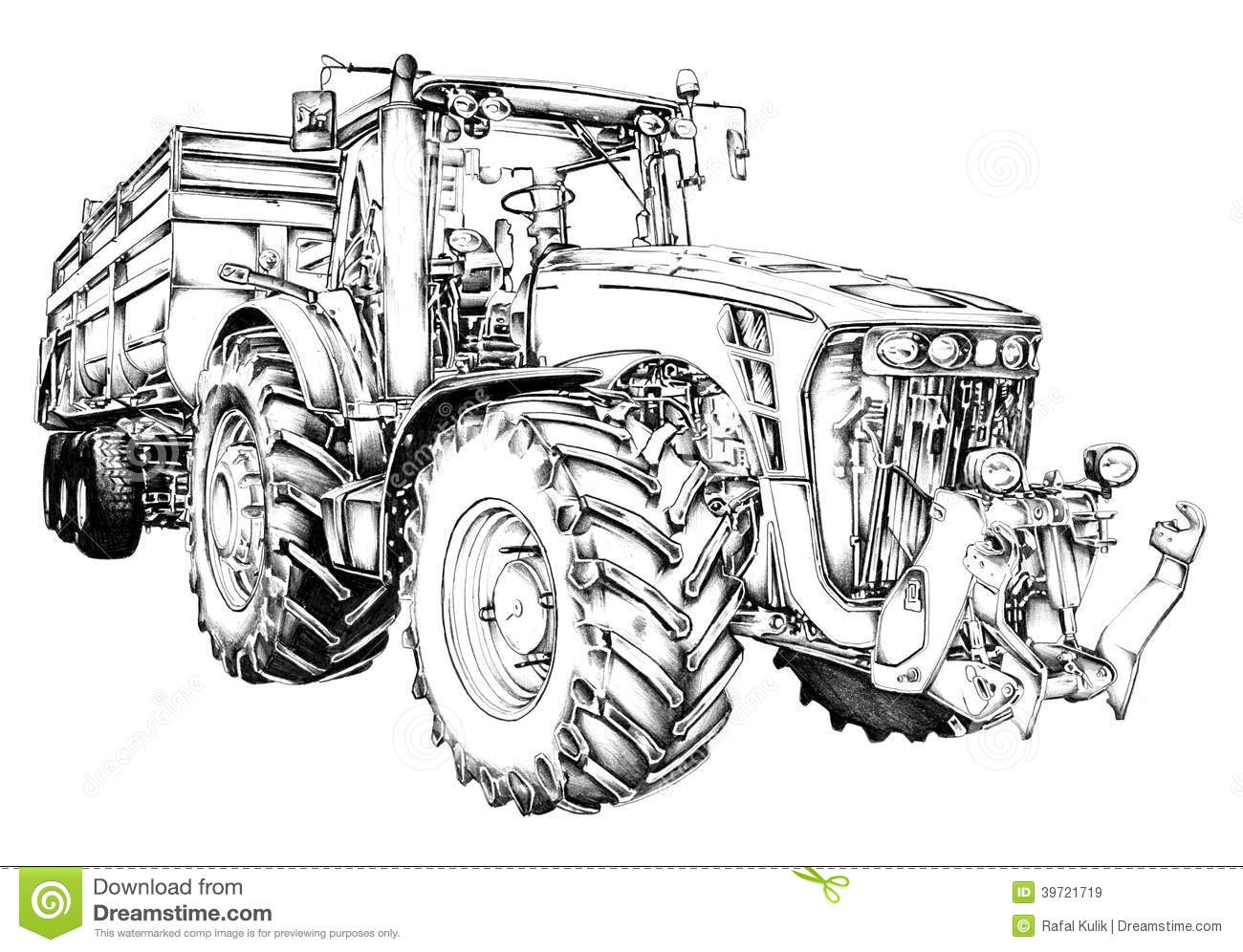Agricultural Tractor Illustration Art Drawing Stock