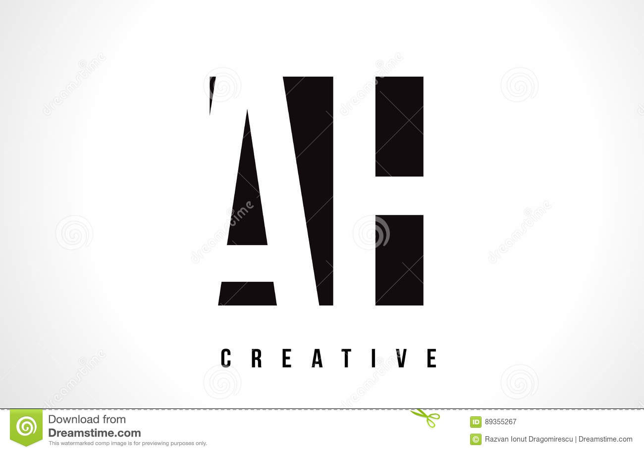AH A H White Letter Logo Design With Black Square. Stock