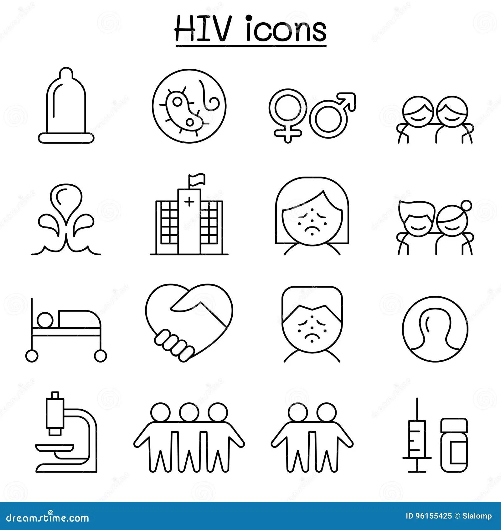 Aids Hiv Pictogram In Dunne Lijnstijl Wordt Geplaatst