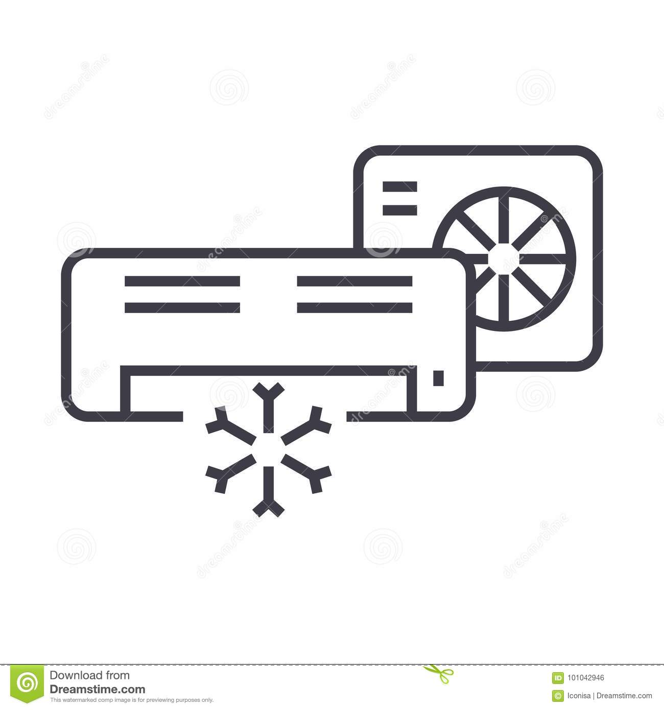 Air Conditioner,split System Vector Line Icon, Sign
