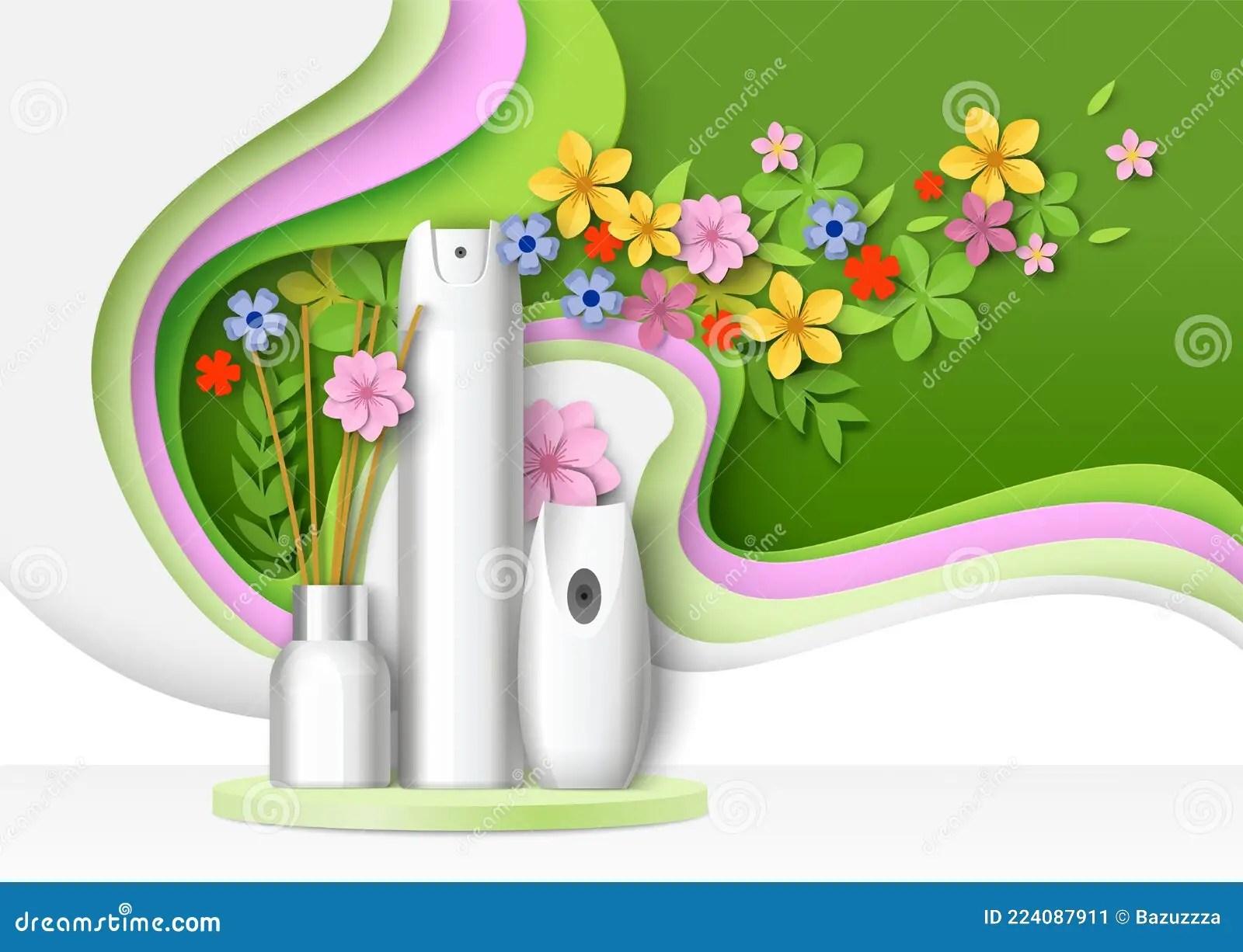 Psd | 36 mb rar. Air Freshener Packaging Bottle Aroma Stick Mockup Set On Podium Paper Cut Floral Background Vector Illustration Stock Vector Illustration Of Package Clean 224087911