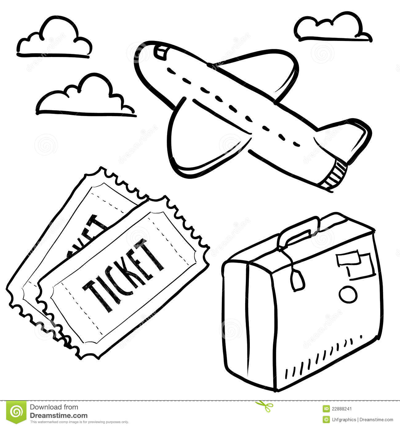 Air Travel Objects Sketch Stock Image