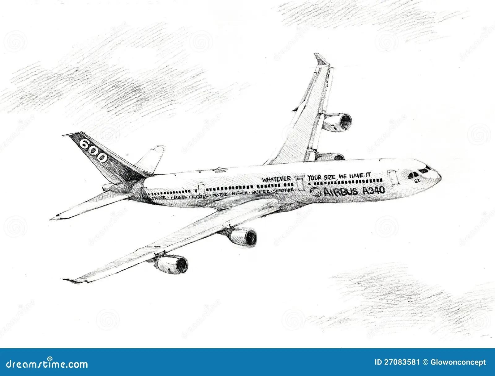 Airbus A340 Plane Illustration Drawing Stock Illustration