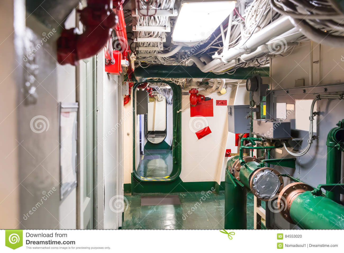 hight resolution of aircraft carrier corridor with partitions fire pipeline and wiring system midway museum