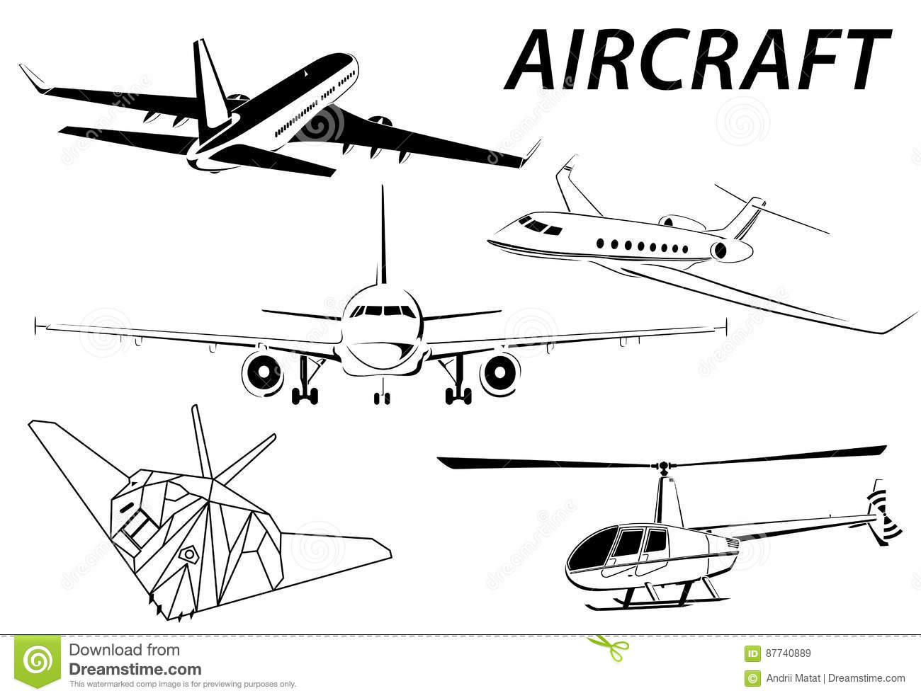 Aircraft. Helicopter. Stealth. Plane Abstract Lines Vector