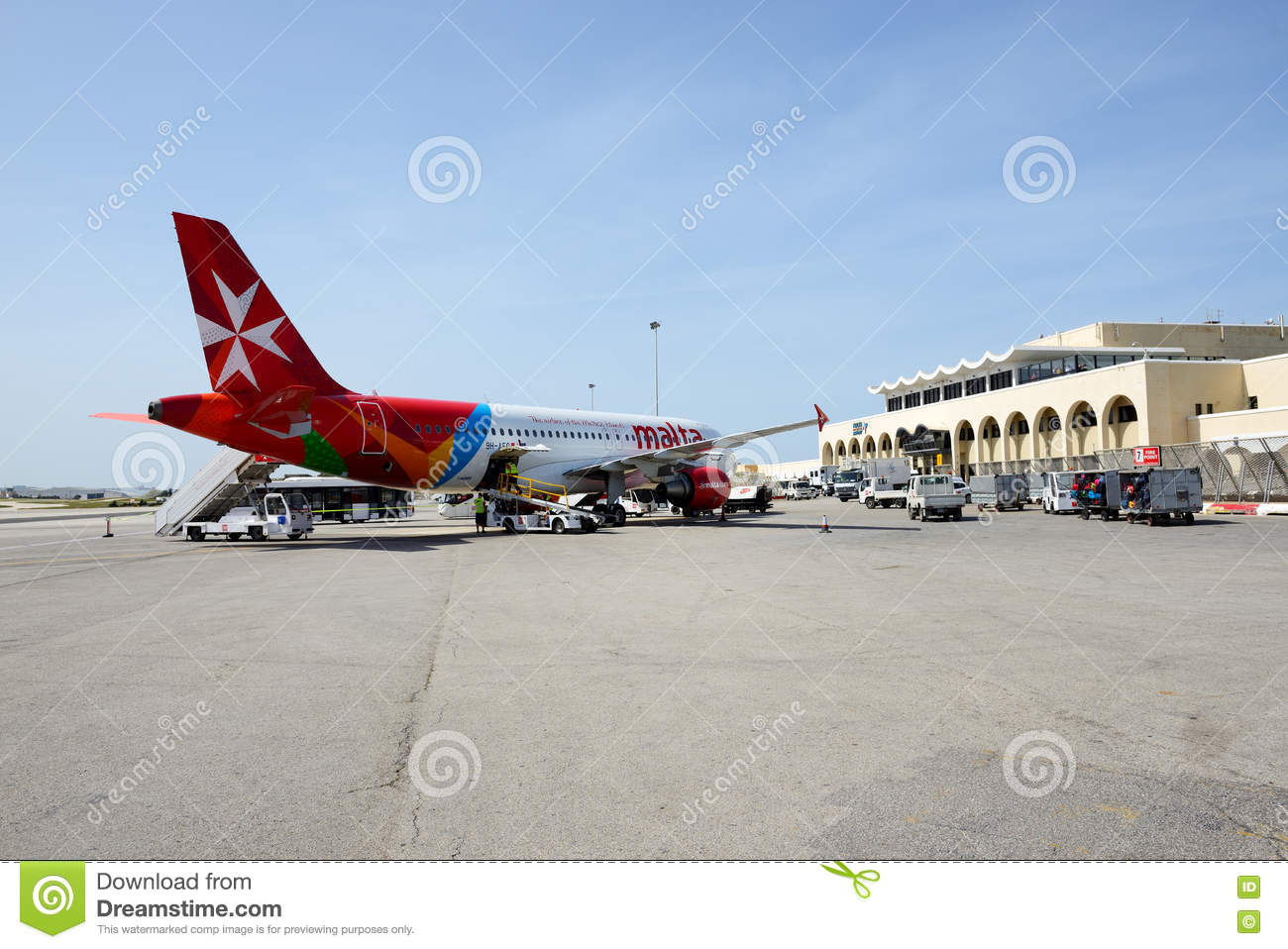 The Aircraft Of Malta Airlines Taking Maintenance At Malta Airport Editorial Photo - Image of loading. airline: 79537366