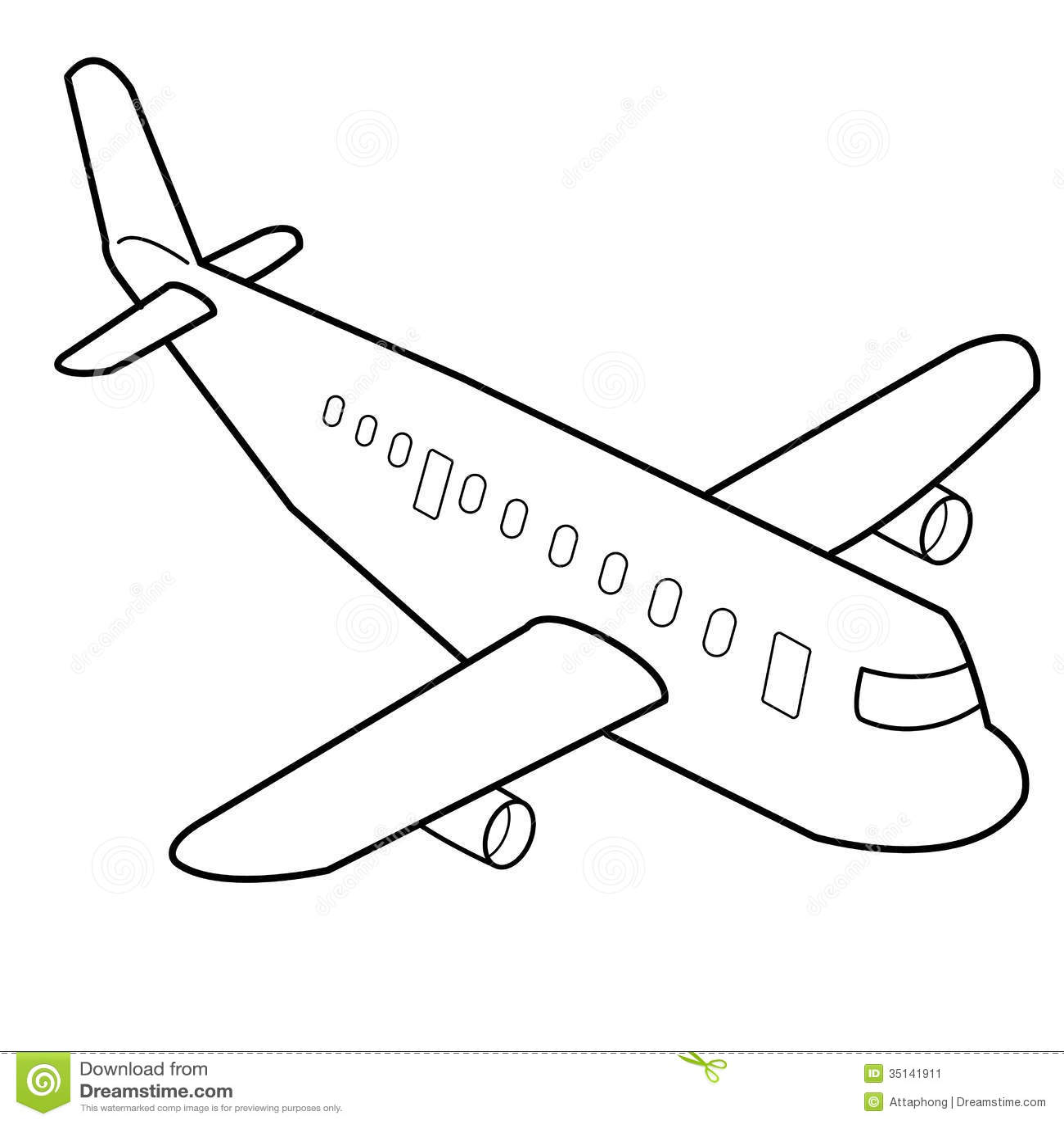 Airplane Cartoon Outline Vector Stock Vector
