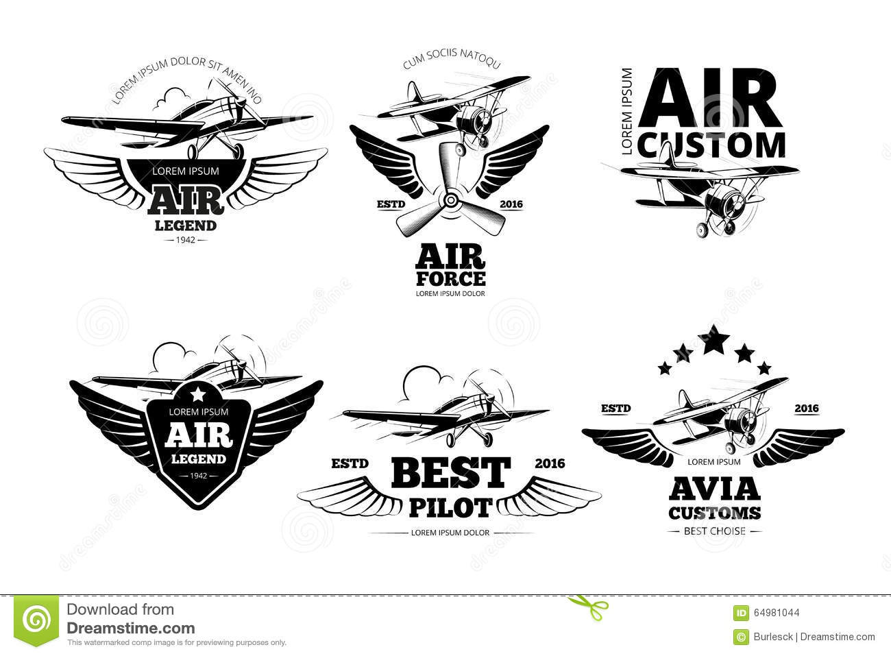 Airplane Emblems Vector Labels Stock Vector