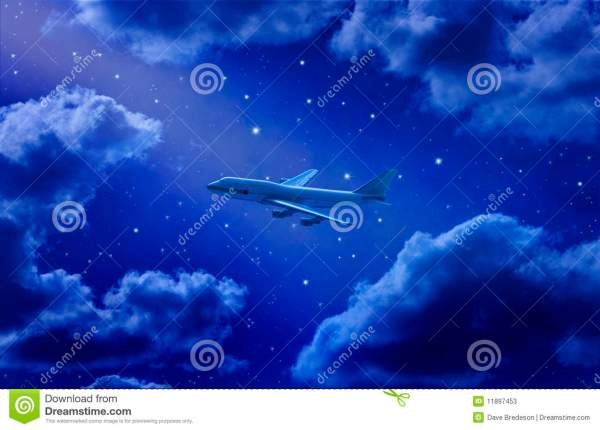 Airplane Flying at Night