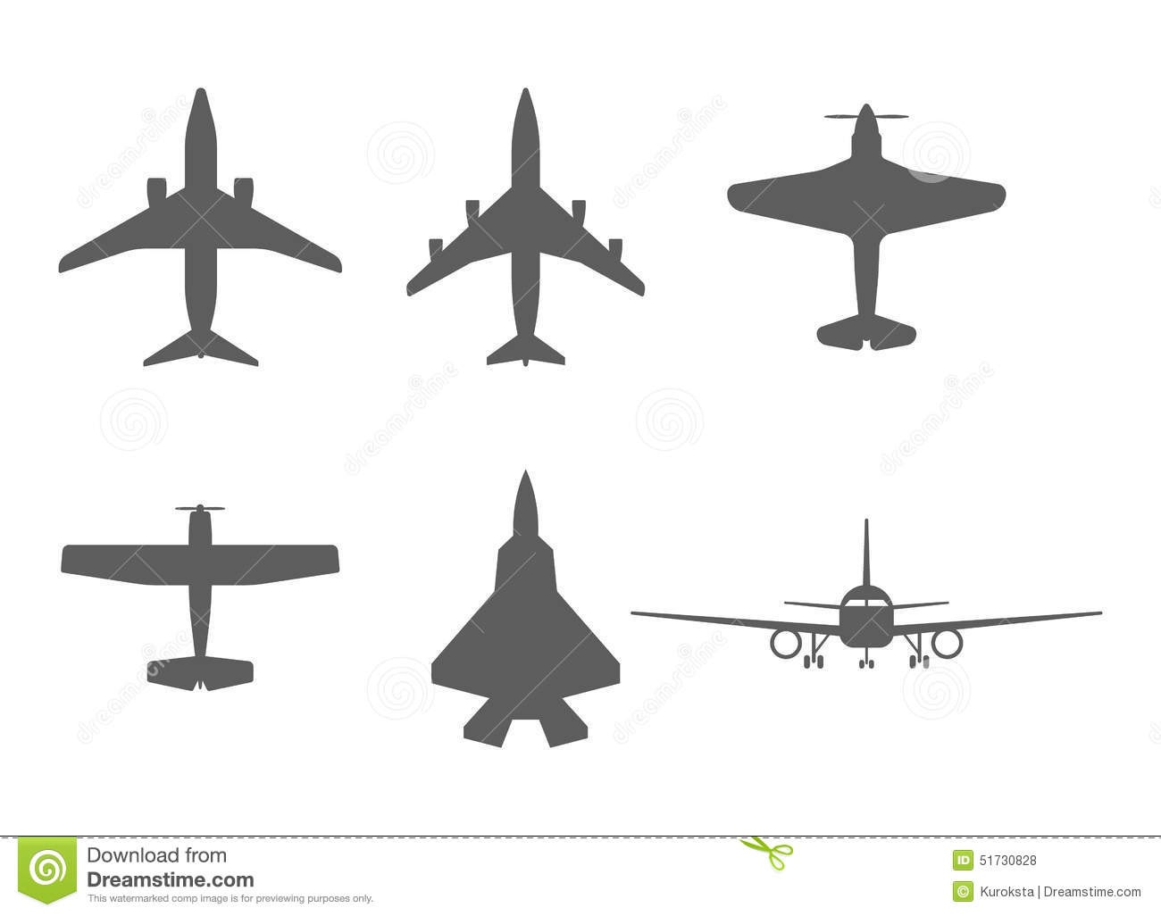 Airplane Icons Passenger Plane Fighter Plane And Stock