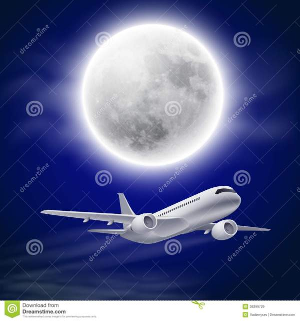 Airplane In Night Sky With Moon. Stock Vector - 39299729
