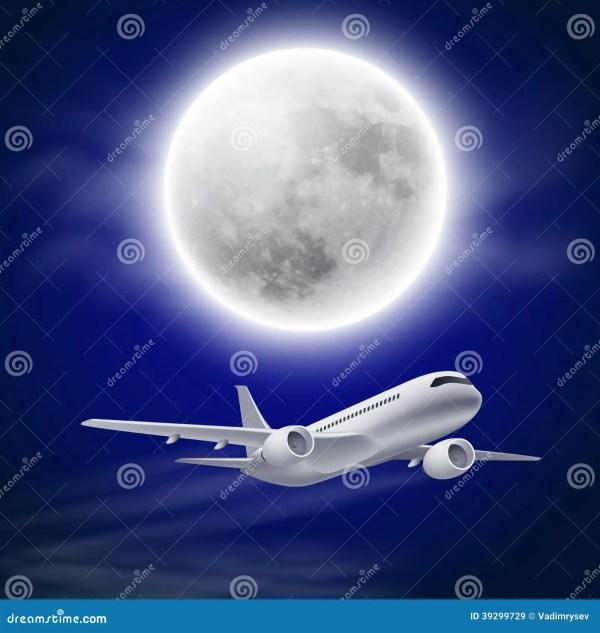 Wallpaper Airplanes Night Sky Moon