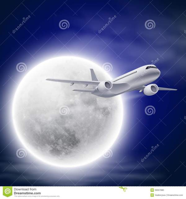 Airplanes in the Night Sky Moon