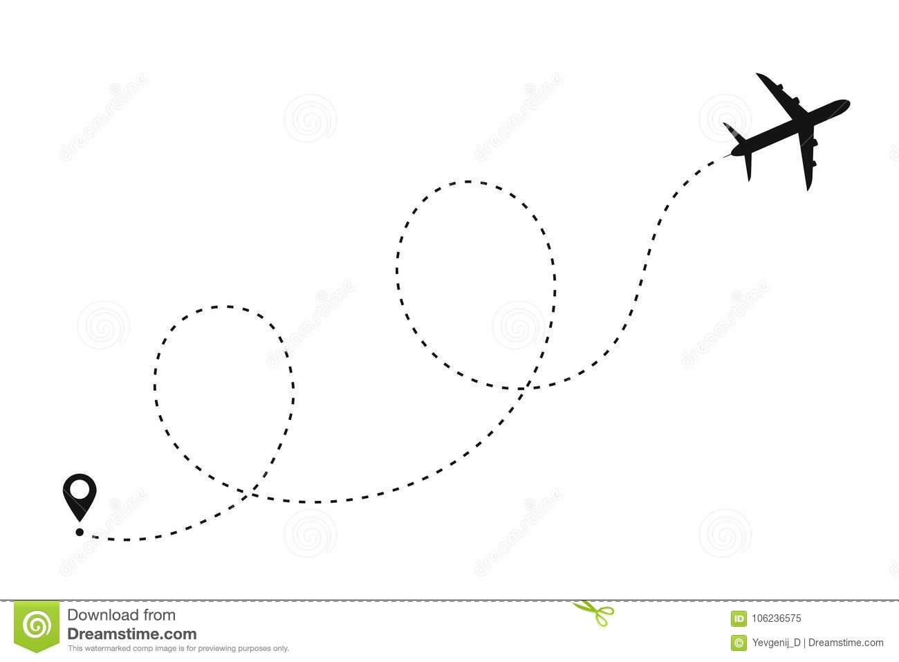 Airplane Path In Dotted Line Shape Route Of Plane