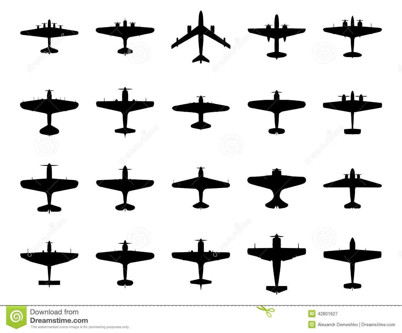 Airplanes Silhouette Set Stock Vector