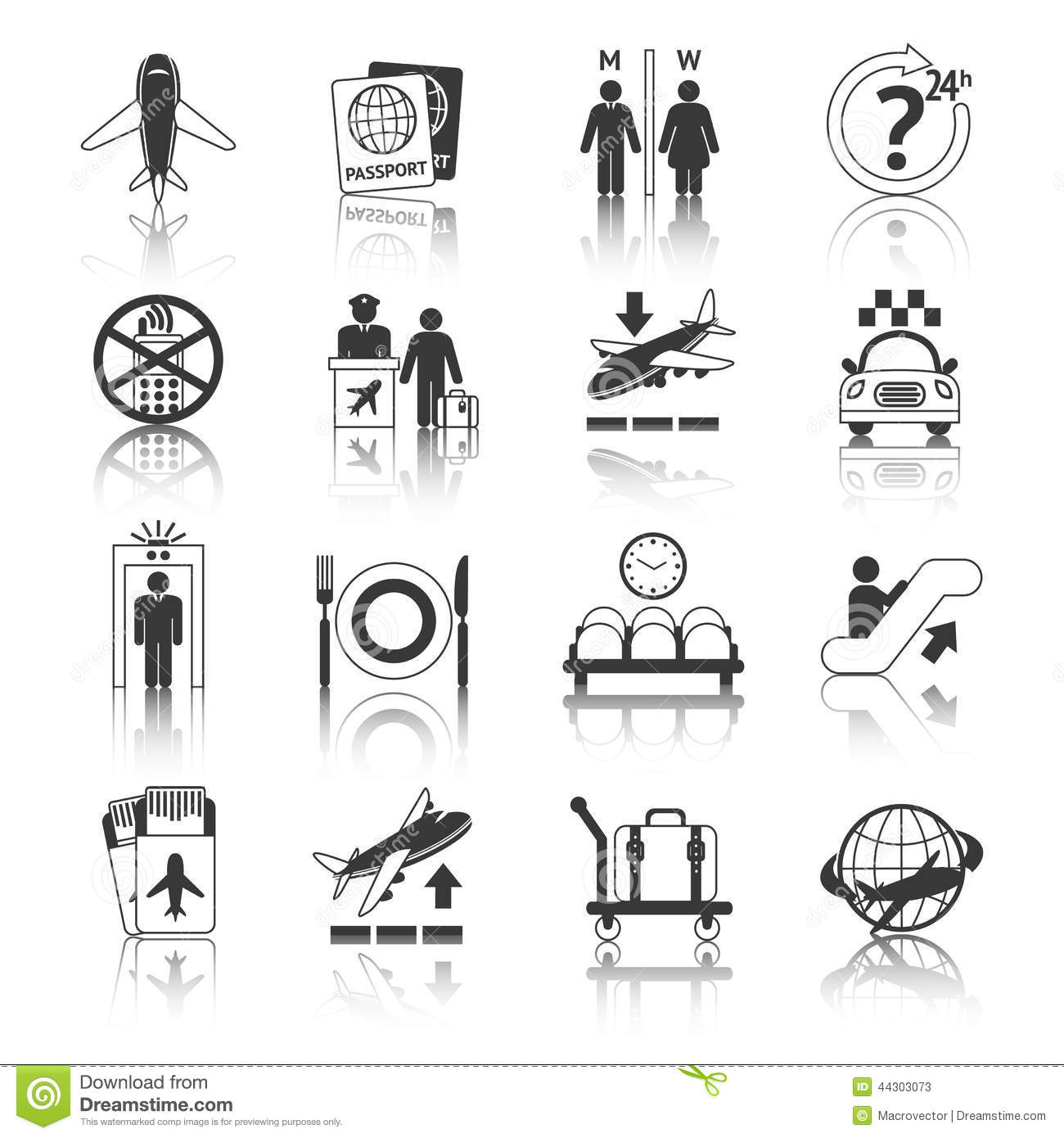 Airport Icons Black And White Set Stock Vector