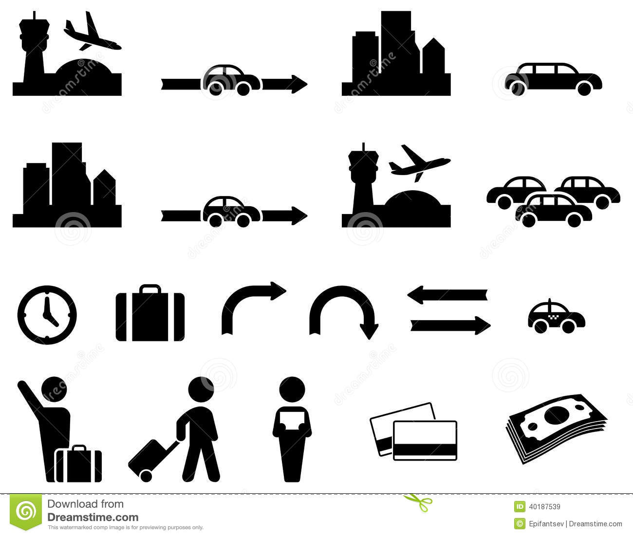 Airport transfer icon set stock vector. Image of land