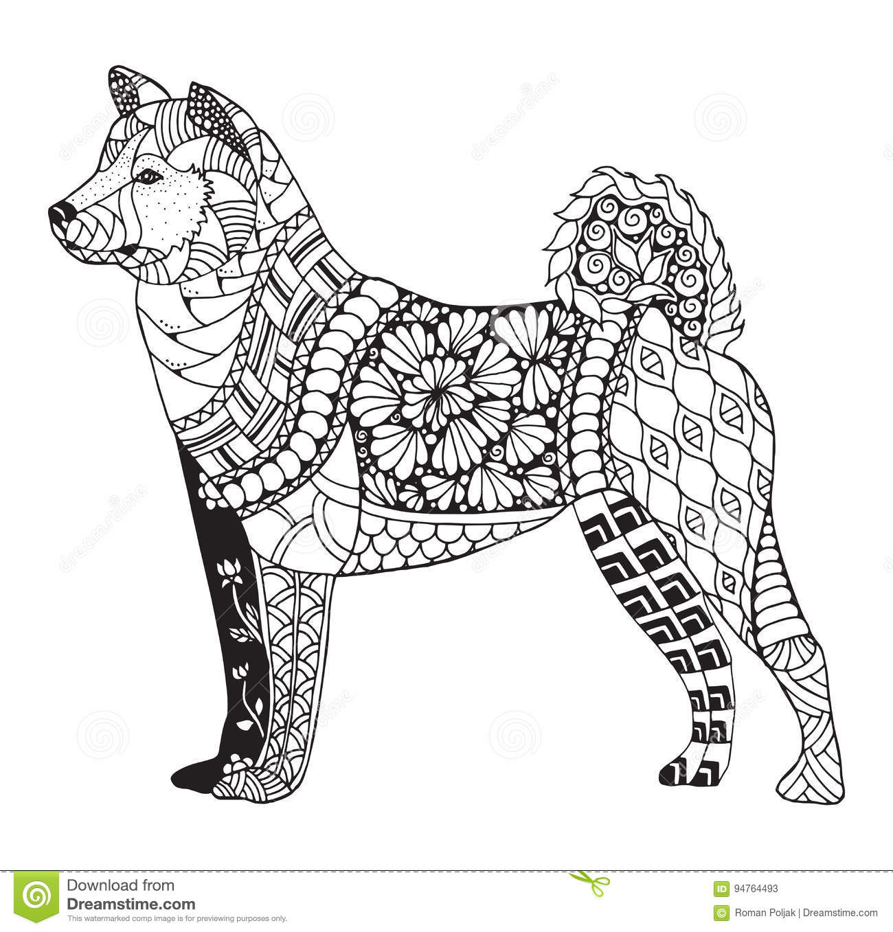 Akita Dog Zentangle Stylized, Vector, Illustration