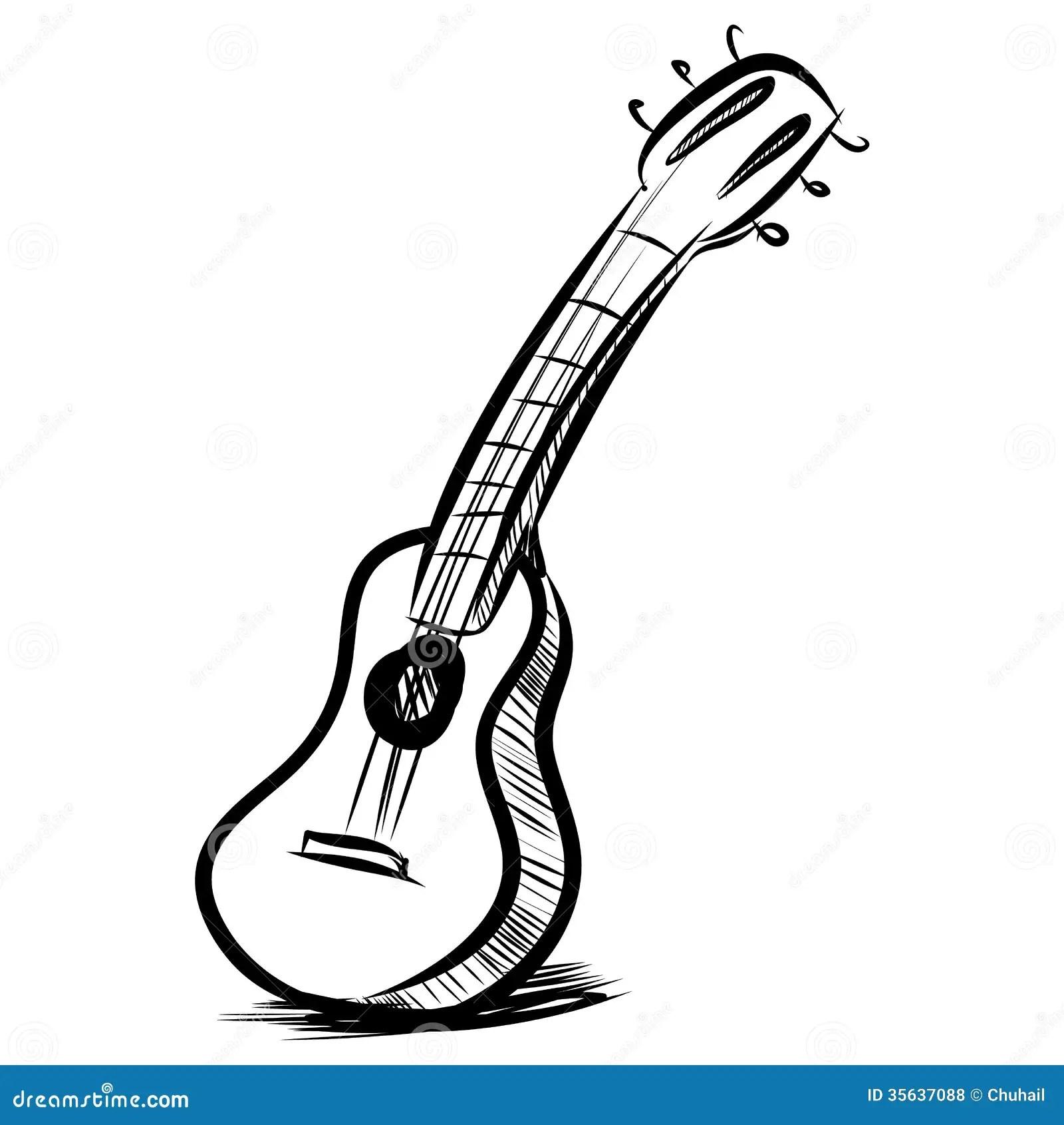 Acoustic Guitar Sketch Sketch Coloring Page