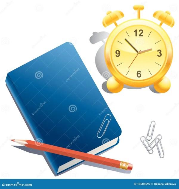 Alarm Clock Book Pencil And Paper Clip Stock