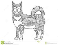 Alaskan Malamute Dog Line Art Design For Tattoo, T Shirt ...