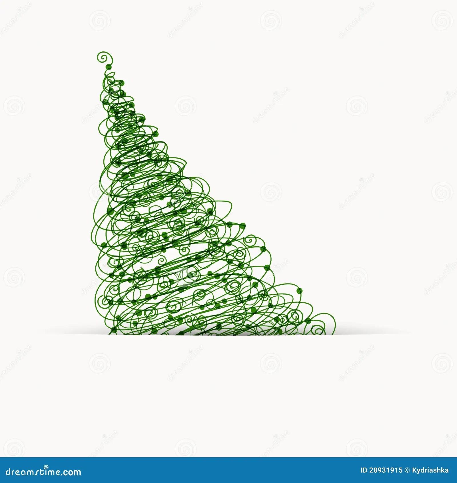 Albero Di Natale Disegno Della Cartolina Con Il Posto Per