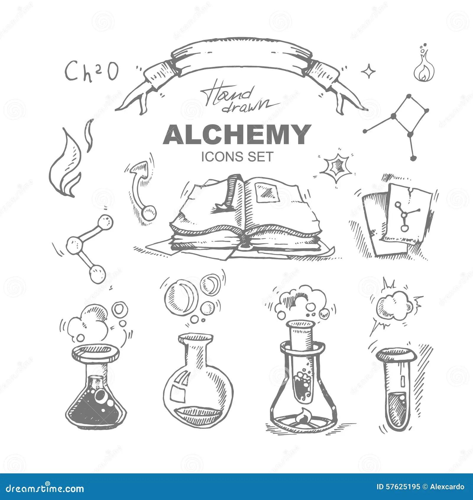 Alchemy Icons Set Stock Vector Illustration Of Molecule