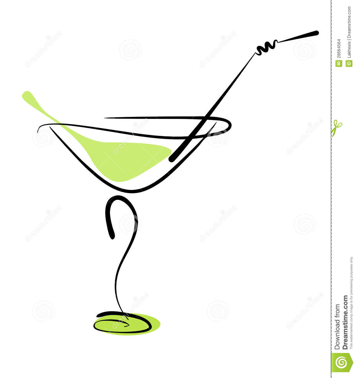 Alcohol Cocktail In Glass With Straw Stock Vector