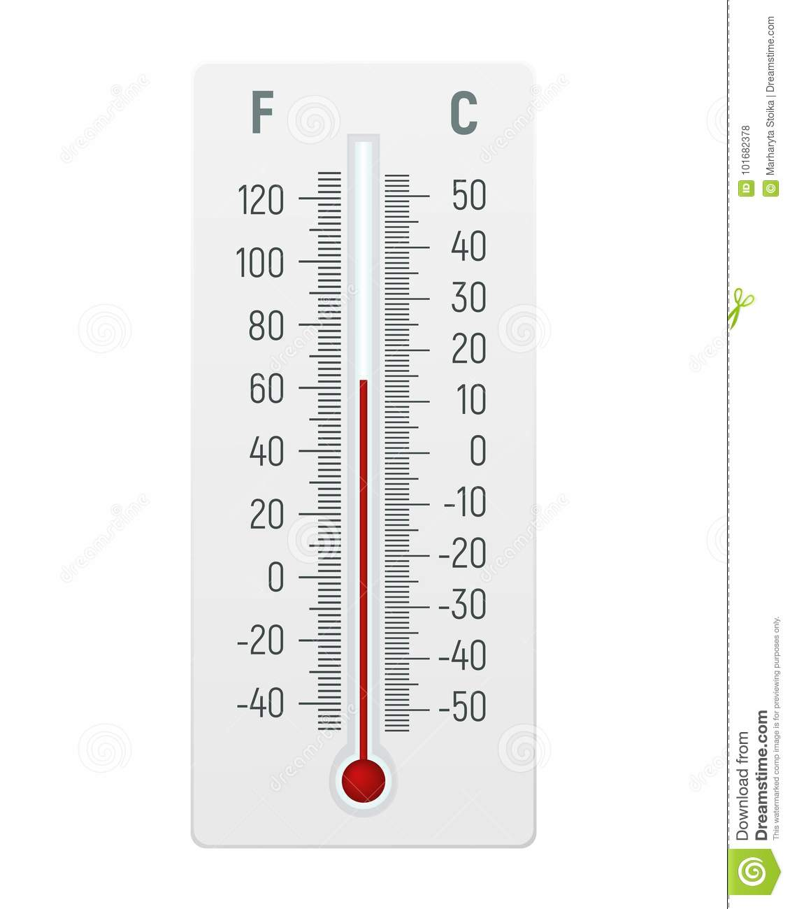 Thermometer In Degrees Celsius And Fahrenheit Stock