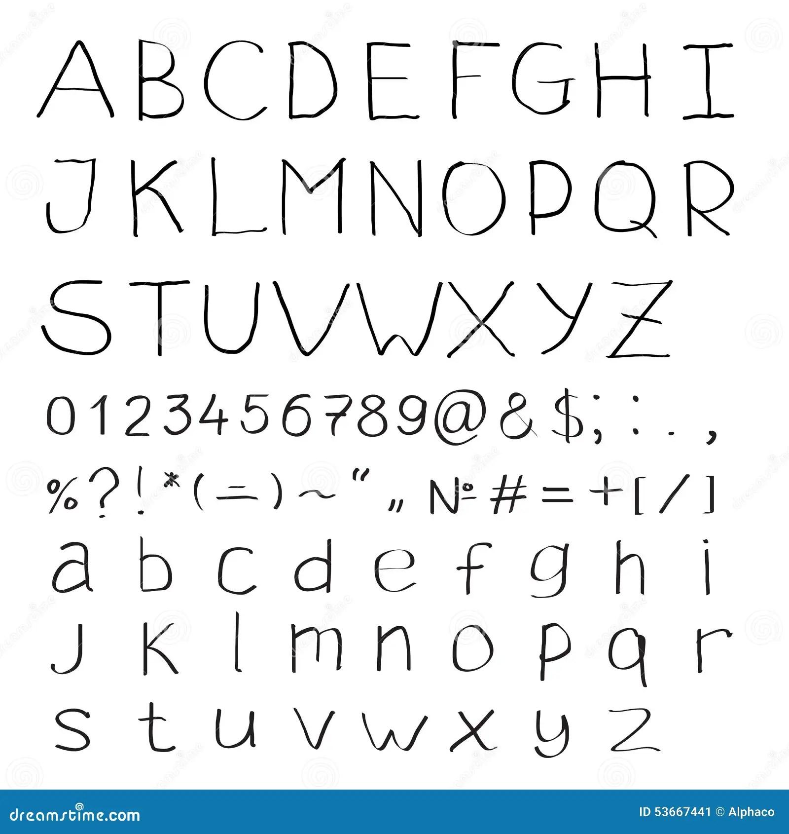 Alfabet Van Latijnse Karakters Vector Illustratie