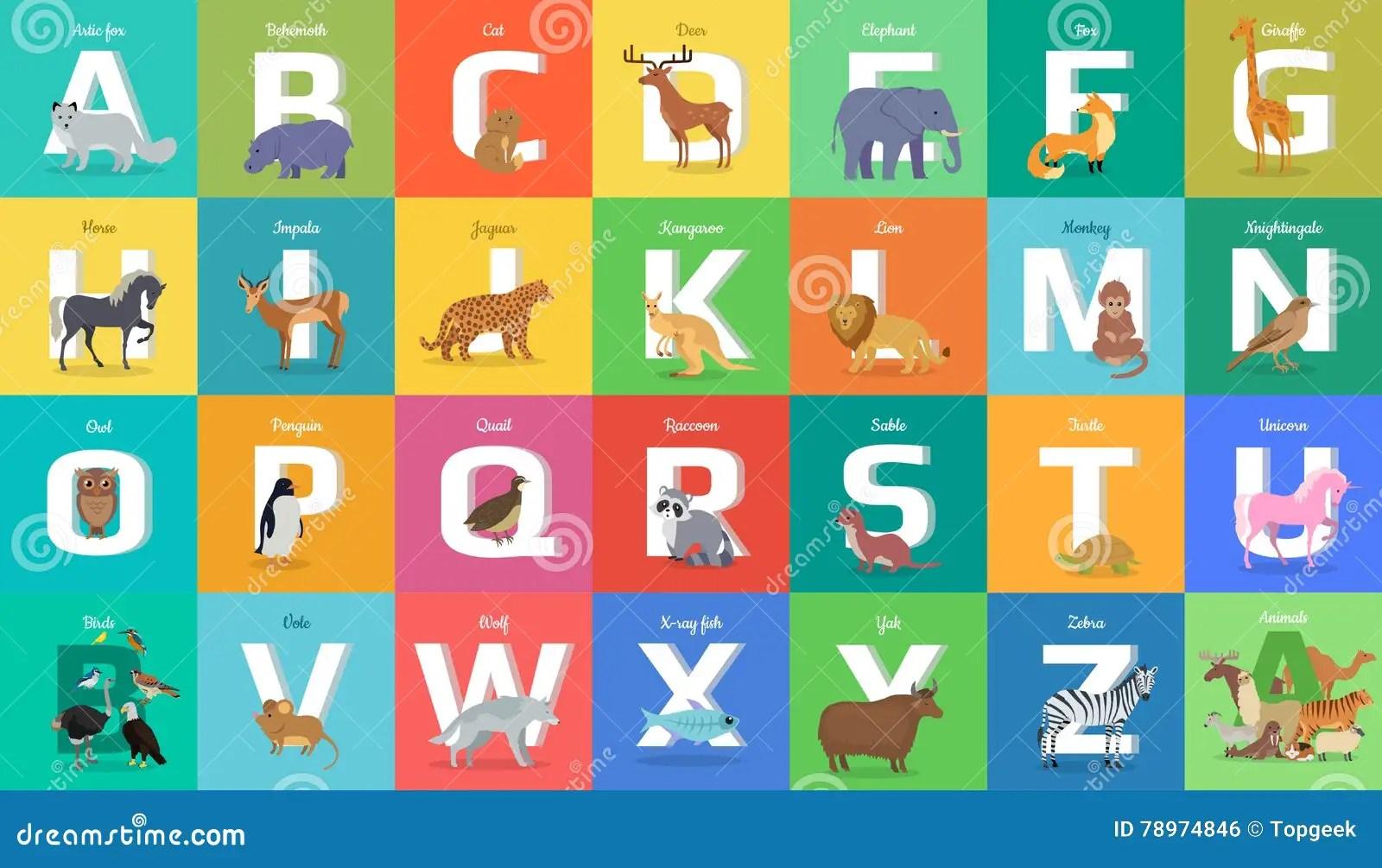 Alfabeto Degli Animali Lettera Da A Alla Z Illustrazione