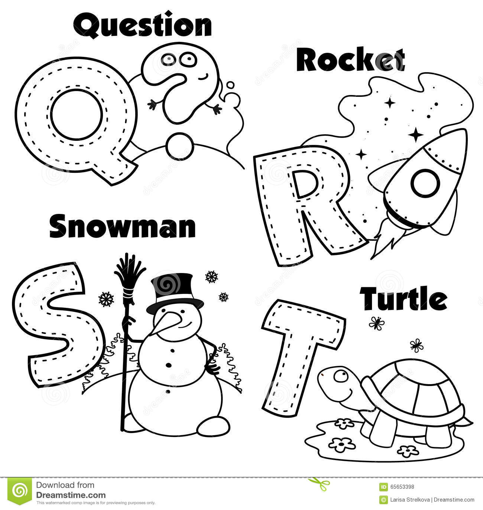 Alfabeto Ingles Y Las Letras Q R S Y T Ilustracion Del Vector