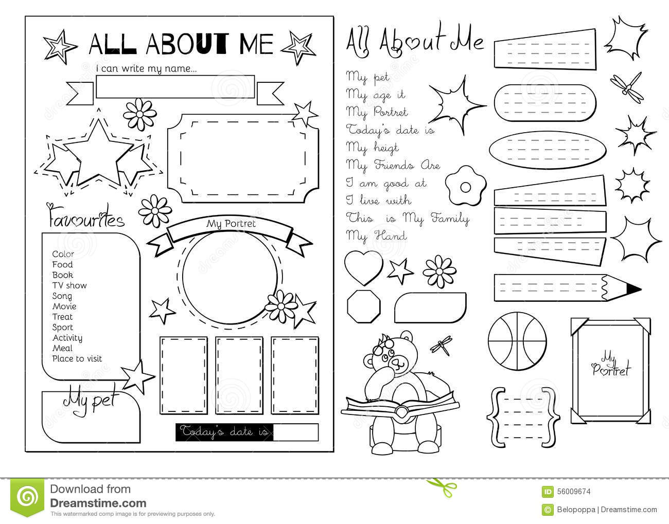 All About Me School Printable Stock Vector