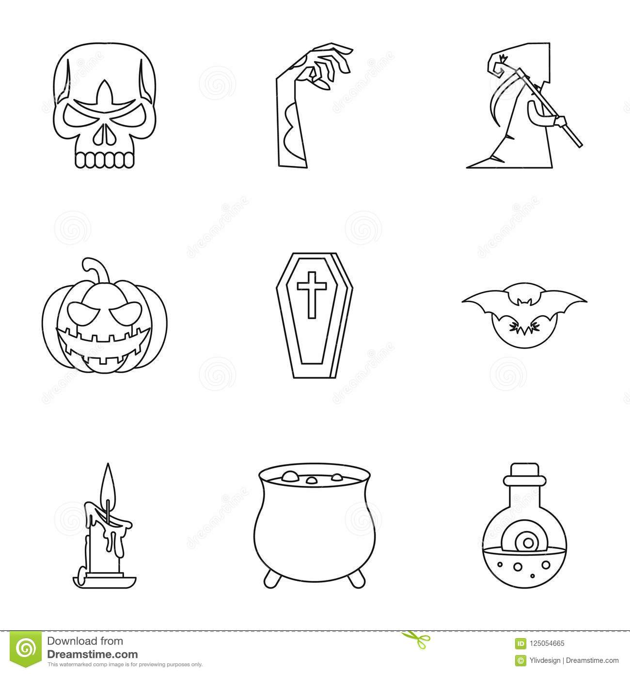 All Saints Day Icons Set Outline Style Stock Illustration