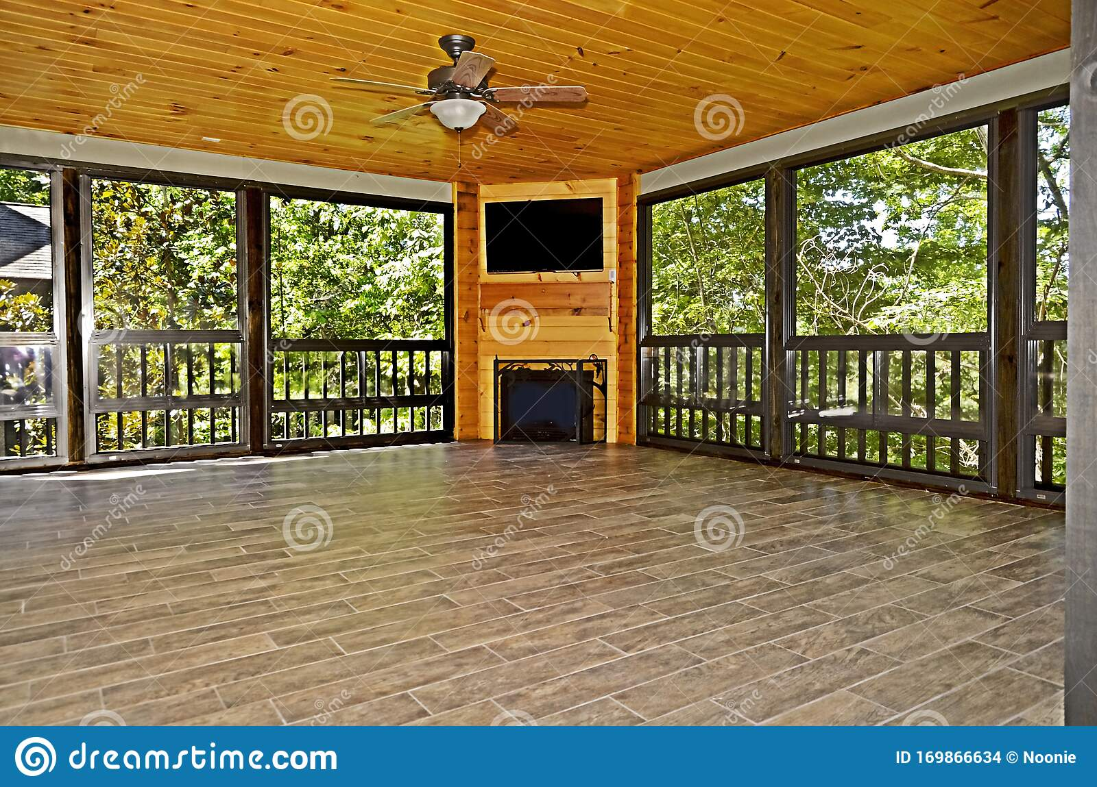 https www dreamstime com all season enclosed porch new screened fireplace wooden ceiling tile floors image169866634