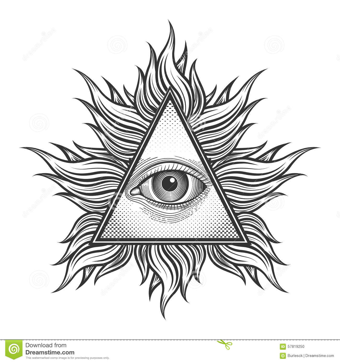 All Seeing Eye Pyramid Symbol In The Engraving Stock