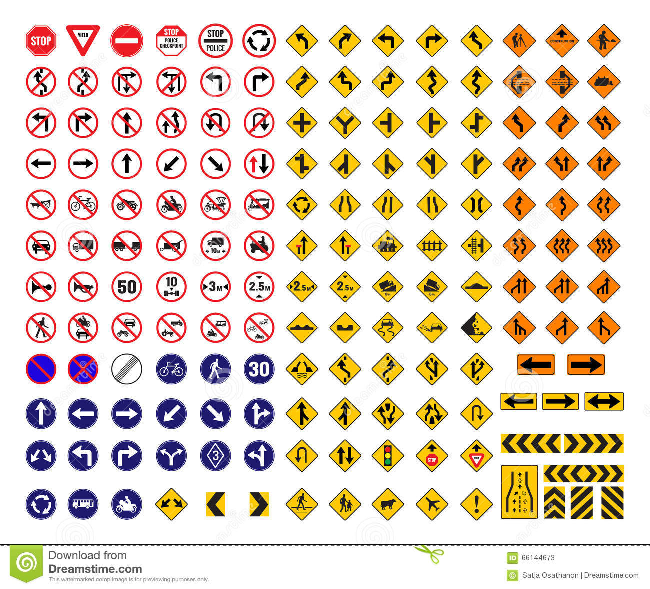 All Traffic Signs Stock Vector Illustration Of Direction