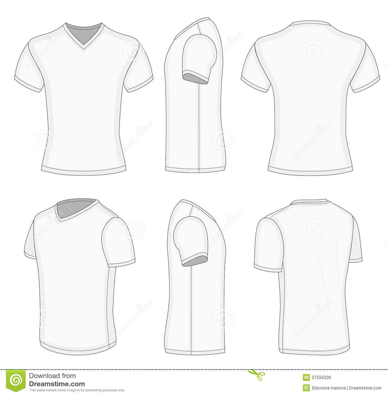 All Views Men S White Short Sleeve V Neck T Shirt Stock Vector