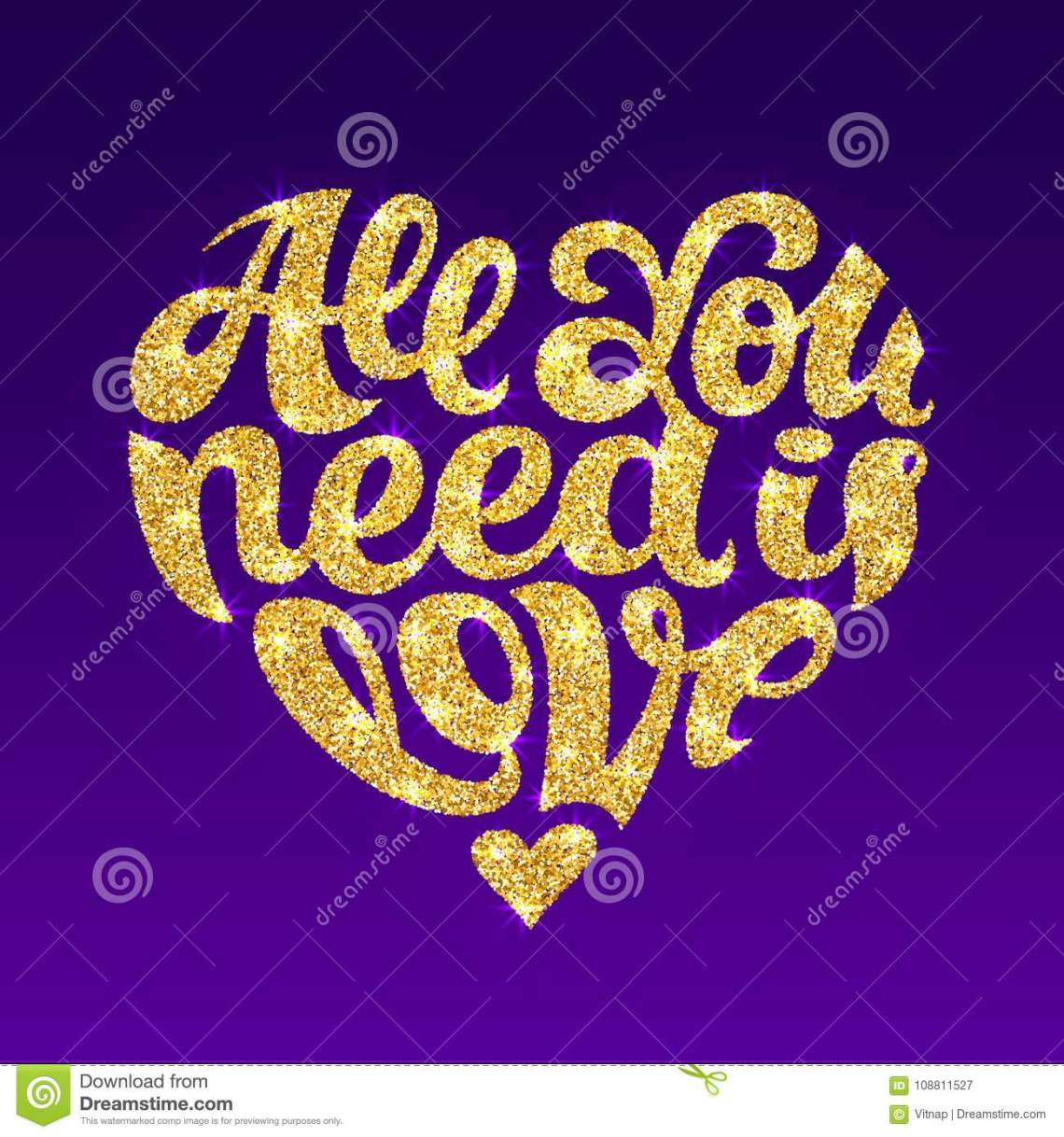 Download All You Need Is Love Vector Gold Glitter Lettering Design ...